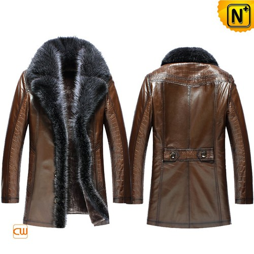 Christmas Gifts | CWMALLS® Chicago Men Embossed Leather Shearling Coat CW852555 [Custom Made]