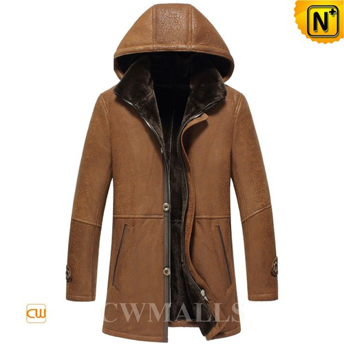 Genuine Sheepskin Coat | CWMALLS® Glasgow Mens Hooded Sheepskin Coat CW855571 [Custom Made]