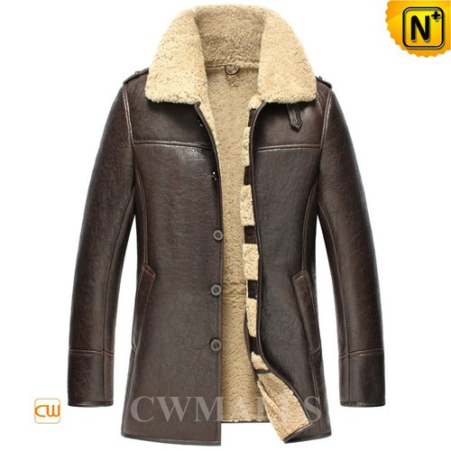 Genuine Sheepskin Coat | CWMALLS® Chicago Mens Shearling Coat CW857158 [Christmas Gifts]