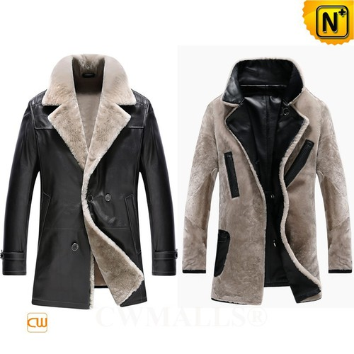 Christmas Gifts | CWMALLS® Chicago Leather Shearling Pea Coat CW890013 [Free Custom Made]