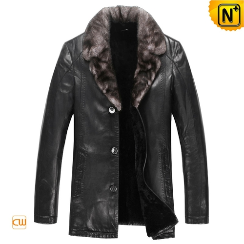 Christmas Gifts | CWMALLS® London Mens Black Leather Shearling Coat CW868861 [Custom Made]
