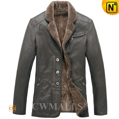 Multifunctional Sheepskin Jackets | CWMALLS® Anchorage Mens Leather Shearling Blazer CW808078