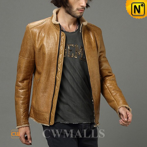 Christmas Gifts | CWMALLS® Copenhagen Mens Tan Sheepskin Jacket CW858347 [Custom Made]
