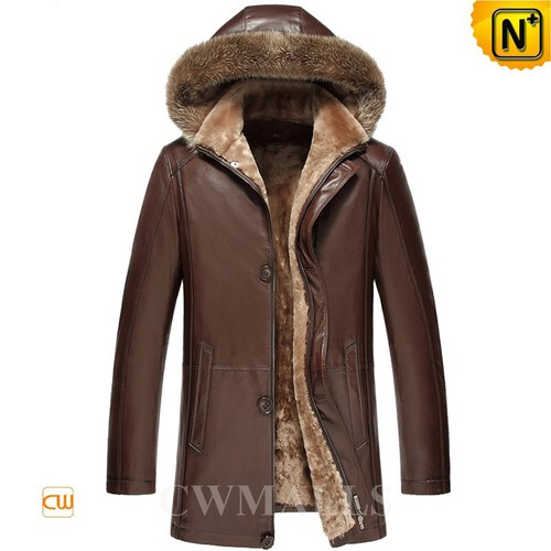 Christmas Gifts | CWMALLS® Jersey City Hooded Lambskin Shearling Coat CW858180 [Custom Made]