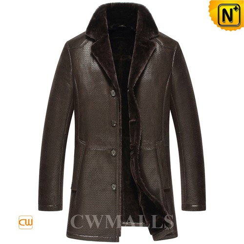 Christmas Gifts | CWMALLS® Warsaw Mens Embossed Shearling Coat CW858349 [Genuine Sheepskin]