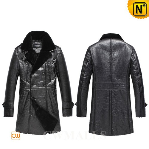 Christmas Gifts | CWMALLS® New York Mens Black Sheepskin Pea Coat CW858352 [Custom Made]