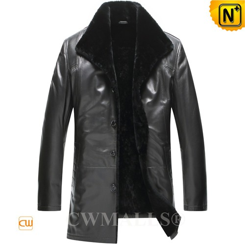 Christmas Gifts | CWMALLS® London Men Black Lambskin Shearling Coat CW807803 [Global Free Shipping]