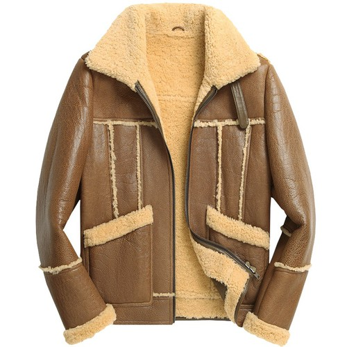 Christmas Gifts | CWMALLS® Boston Men Sheepskin Bomber Jacket CW808385 [Custom Made]