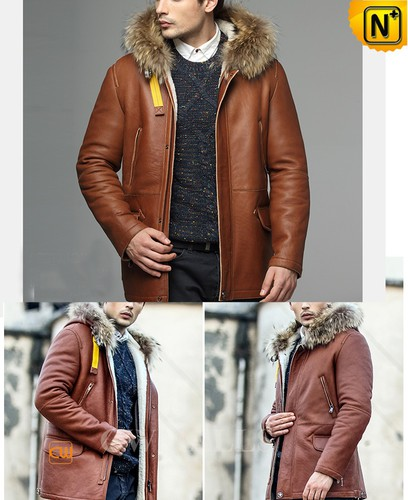 Genuine Sheepskin Coat | CWMALLS® New York Mens Hooded Sheepskin Parka CW858350 [Christmas Gifts]