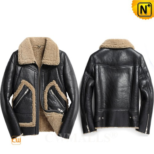 Christmas Gifts | CWMALLS® Boston Vintage Men Sheepskin Aviator Jacket CW808318 [Custom Made]