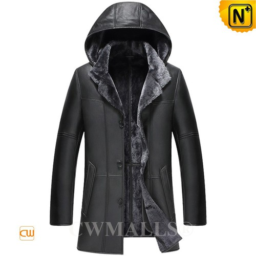 Genuine Sheepskin Coat | CWMALLS® Chicago Mens Hooded Shearling Coat CW836521 [Custom Made]