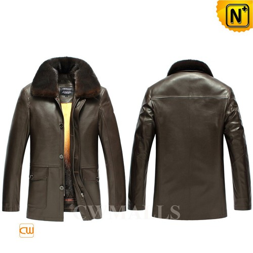 Men Fur Coat | CWMALLS® Edmonton Mens Mink Fur Lined Leather Coat CW857335 [Custom Made]