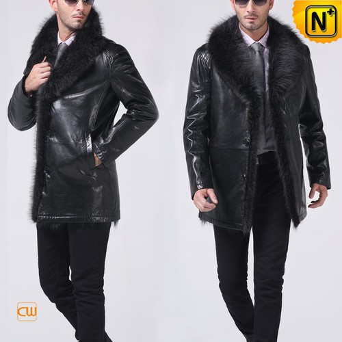 Men Fur Coats | CWMALLS® Quebec City Men Fox Fur Lined Lambskin Coat CW852458 [Christmas Gifts]