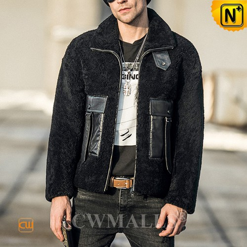 Men Bomber Jackets | CWMALLS® Oslo Black Shearling Biker Jacket CW808325 [Global Free Shipping]