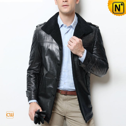 Men Sheepskin Jackets | CWMALLS® Buffalo Mens Black Leather Shearling Coat CW877365 [Custom Made]