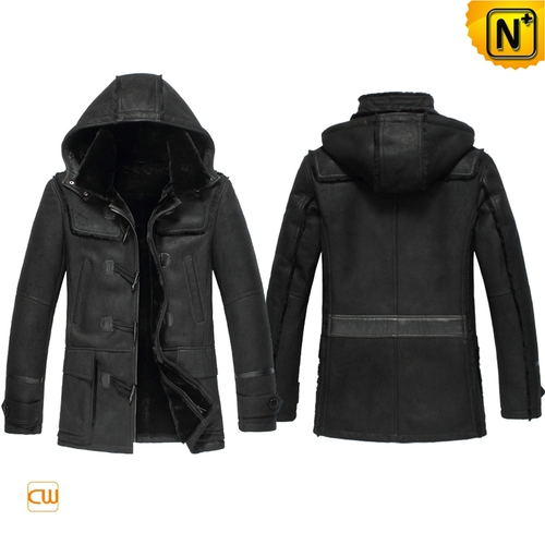 Men Sheepskin Jackets | CWMALLS® Chicago Mens Hooded Leather Shearling Jacket CW851315