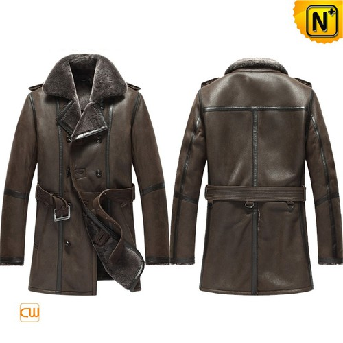 Genine Sheepskin Coat | CWMALLS® New York Mens Sheepskin Pea Coat CW856080 [Custom Made]