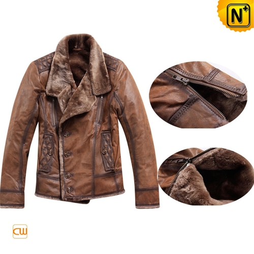 Multifunctional Jackets | CWMALLS® Boston Men Leather Shearling Jacket CW819056 [Global Free Shippi