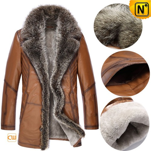 Multifunctional Coat | CWMALLS® Edmonton Men Fur Trim Leather Shearling Coat CW868565
