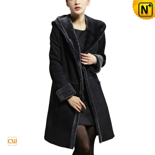 Genuine Sheepskin Coat | CWMALLS® New York Women Black Hooded Sheepskin Coat CW640210 [Custom Made]