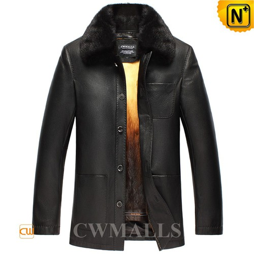 Men Fur Coats | CWMALLS® Edmonton Mink Fur Lined Leather Coat CW857337 [Custom Made]
