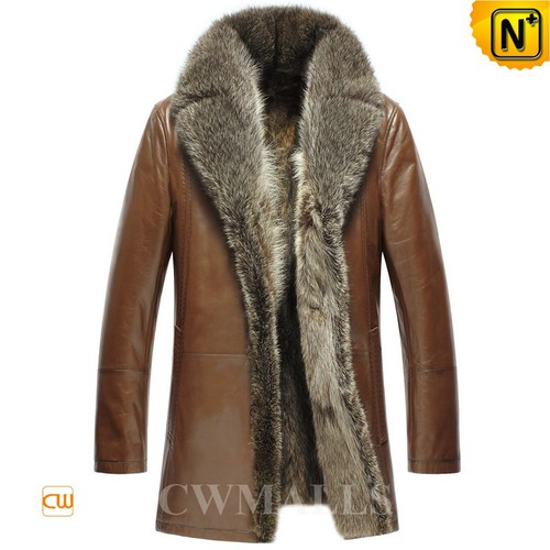 Men Fur Coat | CWMALLS® Chicago Men Fur Lined Leather Coat CW857368 [Custom Made]