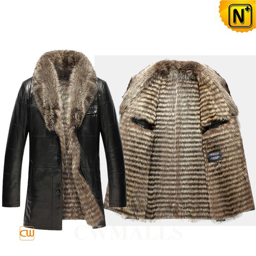 Men Fur Coats | CWMALLS® Edmonton Men Raccoon Fur Lined Leather Coat CW855580 [Custom Made]