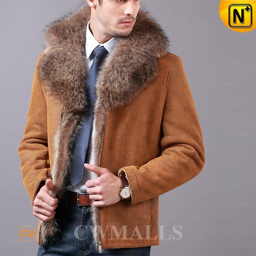 Men Winter Jackets | CWMALLS® Madison Fur Trim Sheepskin Jacket CW855489 [Custom Made]