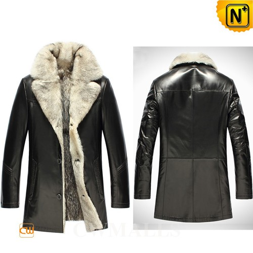 Mens Fur Coats | CWMALLS® Montreal Men Wolf Fur Lined Leather Coat CW855583 [Custom Made]