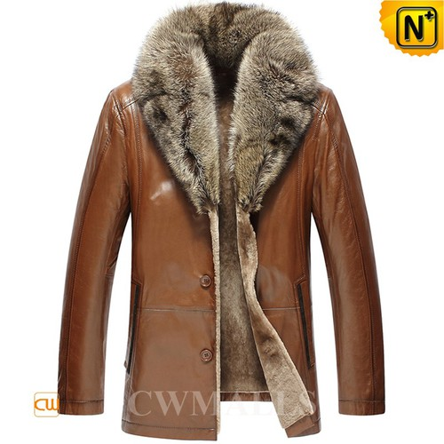 Mens Winter Coat | CWMALLS® Boston Fur Trim Leather Shearling Coat CW858033 [Custom Made]