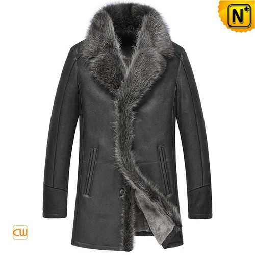 Men Winter Coats | CWMALLS® Chicago Men Raccoon Fur Trim Sheepskin Coat CW855483 [Custom Made]