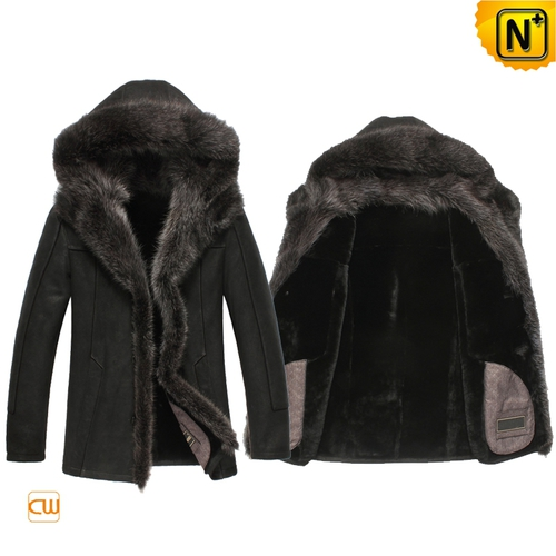 Multifunctional Jackets | CWMALLS® Omaha Mens Fur Trimmed Shearling Jacket CW851337 [Custom Made]