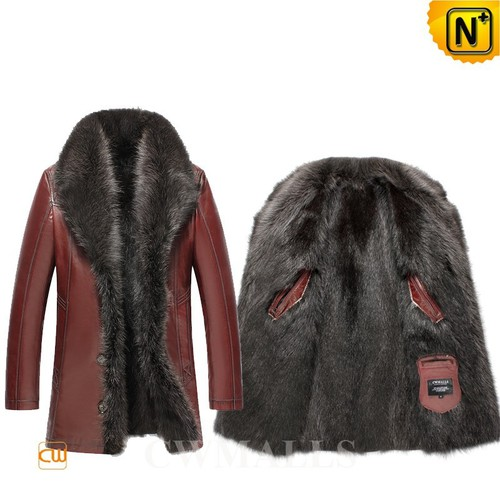 Men Fur Coat | CWMALLS® Anchorage Mens Raccoon Fur Lined Leather Coat CW855581 [Global Free Shippin