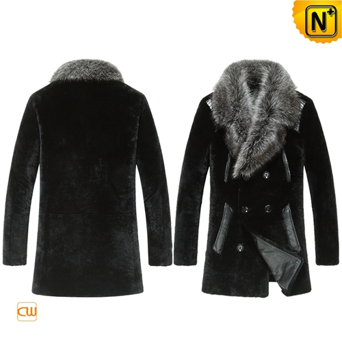 Valentine's Day Gifts | CWMALLS® Boston Mens Fur Collar Shearling Coat CW868007 [Custom Made]