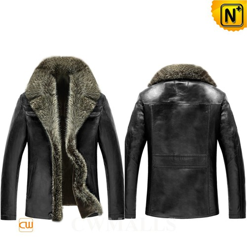Valentine's Day Gifts | CWMALLS® Chicago Fur Trim Shearling Leather Jacket CW855351 [Custom Made]