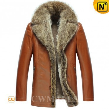Mens Winter Jackets | CWMALLS® Boston Fur Trimmed Leather Shearling Coat CW857365 [Custom Made]