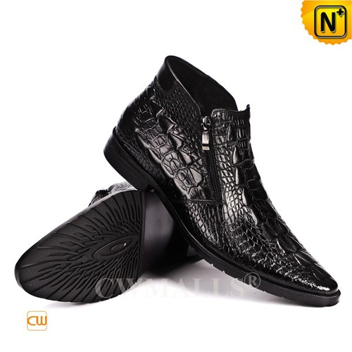 Men Leather Shoes | CWMALLS® Miami Croc-Embossed Leather Boots CW719000 [Global Free Shipping]