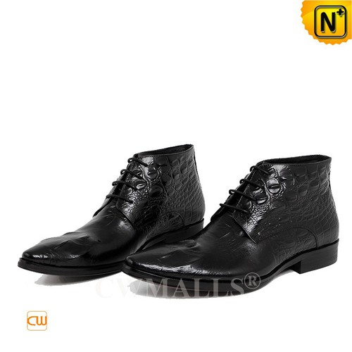 Men Leather Shoes | CWMALLS® Austin Mens Embossed Leather Boots CW719002 [Global Free Shipping]