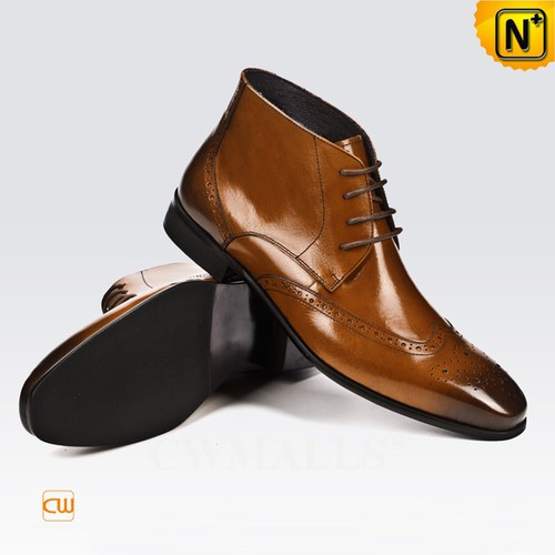 Men Leather Shoes | CWMALLS® Houston Men Leather Brogue Boots CW719003 [Global Free Shipping]