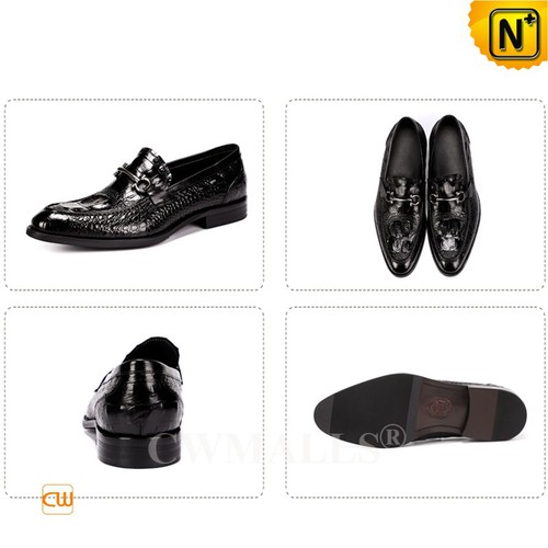 Men Leather Shoes | CWMALLS® Chicago Men Croc-Embossed Leather Loafers CW719023 [Free Shipping]