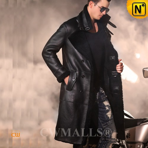 Men Winter Coats | CWMALLS® Bismarck Mens Double Breasted Sheepskin Trench Coat CW807611