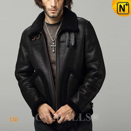 Men Sheepskin Jackets | CWMALLS® Chicago Men Black Sheepskin Bomber Jacket CW807641 [Custom Made]