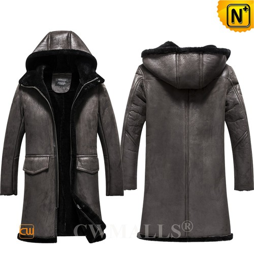 Men Winter Coats | CWMALLS® Bismarck Mens Hooded Sheepskin Coat CW808508 [Custom Made]