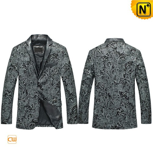 Custom Leather Jackets | CWMALLS® Los Angeles Mens Printed Leather Blazer CW850819 [Custom Made]