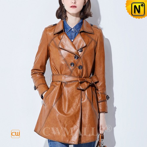 Custom Leather Coats | CWMALLS® Houston Womens Leather Trench Coat CW619020 [Personal Tailor]