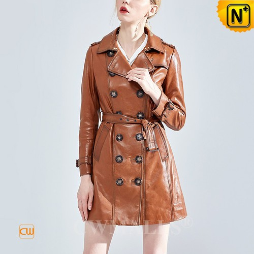 Custom Leather Coat | CWMALLS® Women Double Breasted Leather Trench Coat CW619057 [Personal Tailor]