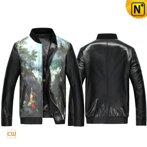 Men Leather Jackets & Leather Shoes | Houston Custom Printed Leather Jacket CW890025 | CWMALLS®