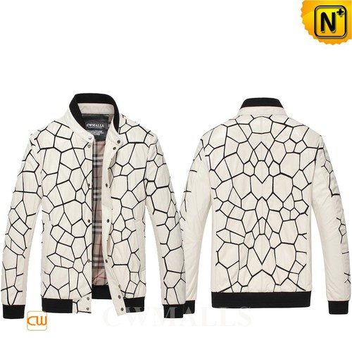 Men Leather Jacket & Leather Shoes | Houston White Quilted Leather Jacket CW806056 | CWMALLS®