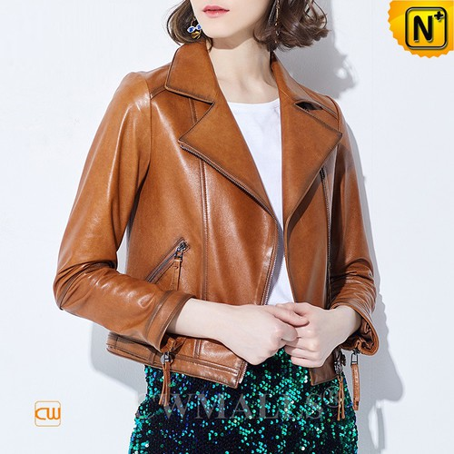 Prop Clothing | Custom Made Women Lambskin Leather Moto Jacket CW619123 | CWMALLS.COM