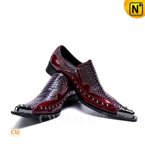 Men Leather Shoes | Men Embossed Leather Dress Shoes CW719035 | CWMALLS.COM